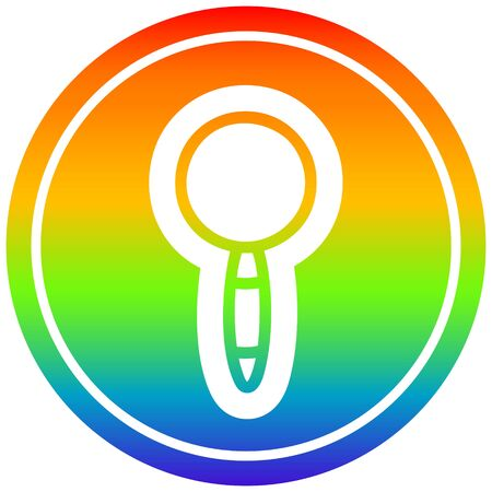 magnifying glass circular icon with rainbow gradient finish