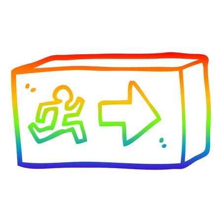 rainbow gradient line drawing of a cartoon exit sign Ilustrace