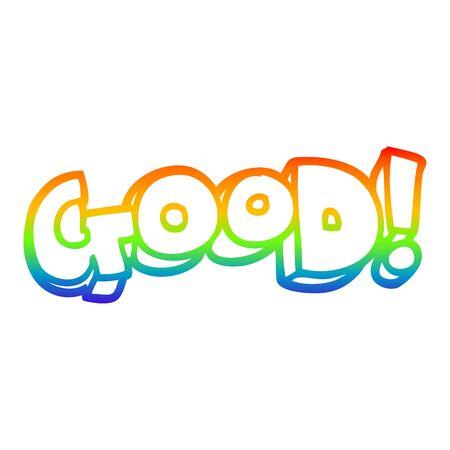 rainbow gradient line drawing of a cartoon word good