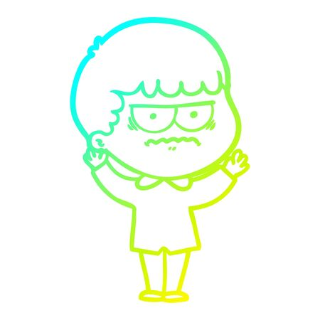 cold gradient line drawing of a cartoon annoyed man