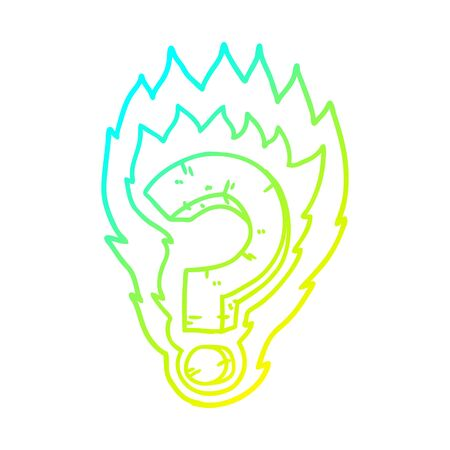 cold gradient line drawing of a cartoon flaming question mark Illusztráció
