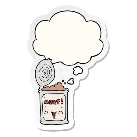 cartoon canned meat with thought bubble as a printed sticker