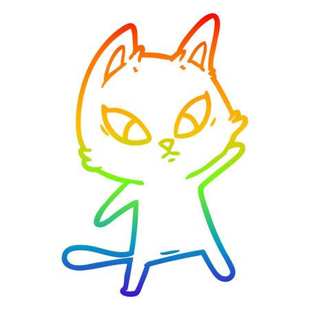rainbow gradient line drawing of a confused cartoon cat Stock Vector - 130516477