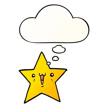 happy cartoon star with thought bubble in smooth gradient style