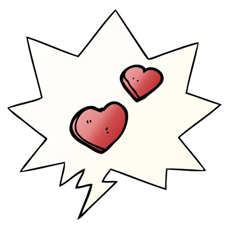 cartoon love hearts with speech bubble in smooth gradient style