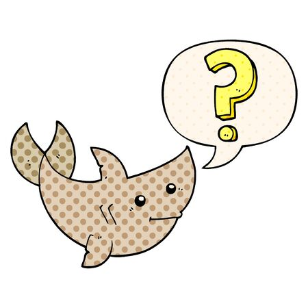 Cartoon-Hai, der eine Frage mit Sprechblase im Comic-Stil stellt Vektorgrafik