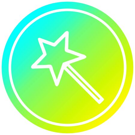 magic wand circular icon with cool gradient finish Çizim
