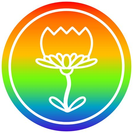 lotus flower circular icon with rainbow gradient finish Archivio Fotografico - 130516409
