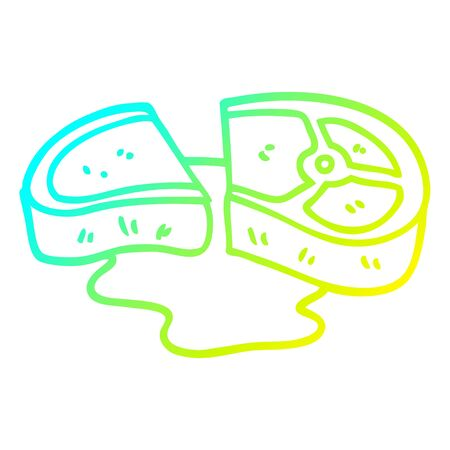 cold gradient line drawing of a cartoon rare steak