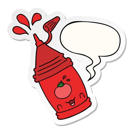 cartoon ketchup bottle with speech bubble sticker Illustration