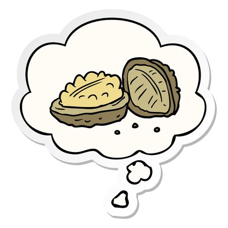 cartoon walnuts with thought bubble as a printed sticker Ilustração