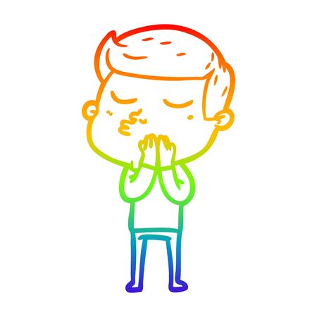 rainbow gradient line drawing of a cartoon model guy pouting