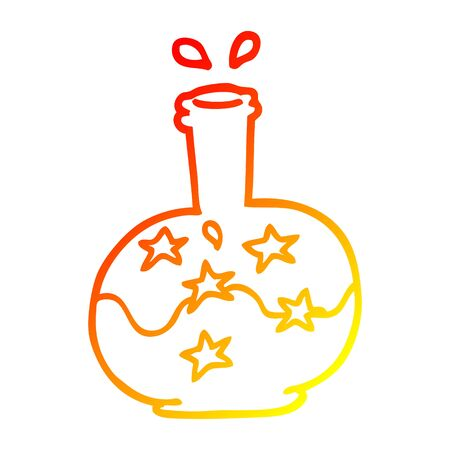 warm gradient line drawing of a cartoon magic potion