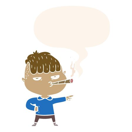 cartoon man smoking with speech bubble in retro style