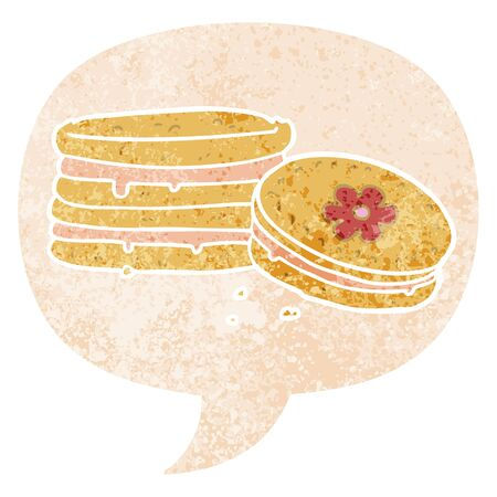 cartoon biscuit with speech bubble in grunge distressed retro textured style