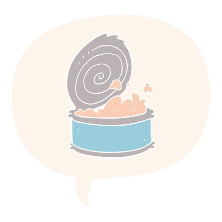 cartoon canned fish with speech bubble in retro style