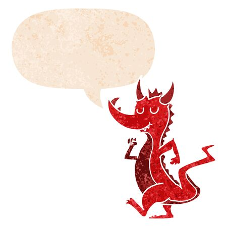 cartoon cute dragon with speech bubble in grunge distressed retro textured style