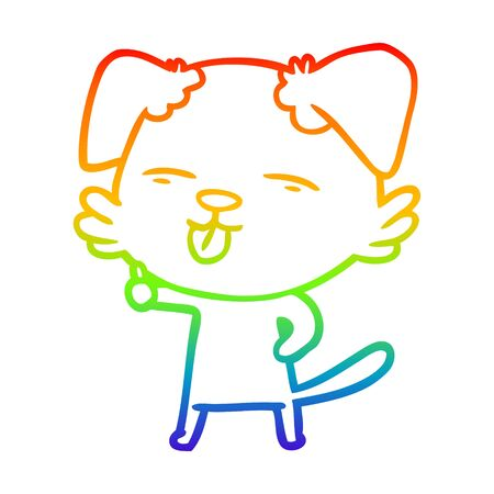 rainbow gradient line drawing of a cartoon dog sticking out tongue Standard-Bild - 130516538