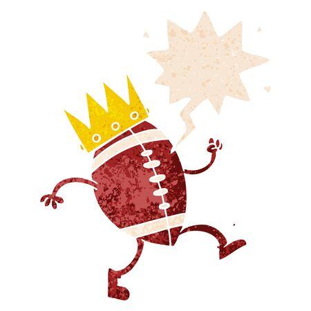 football with crown cartoon  with speech bubble in grunge distressed retro textured style