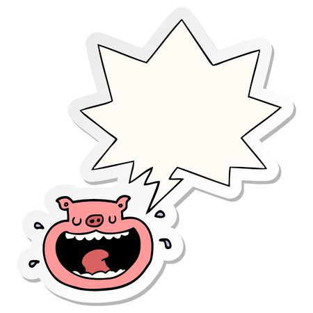cartoon obnoxious pig with speech bubble sticker