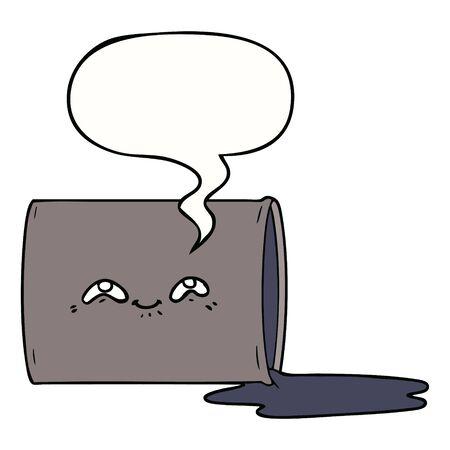 cartoon oil drum with speech bubble  イラスト・ベクター素材