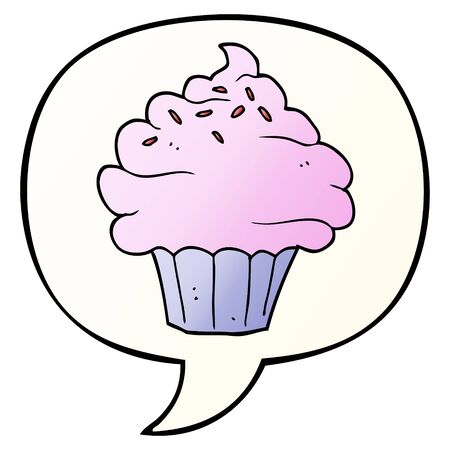 cartoon cupcake with speech bubble in smooth gradient style Ilustração