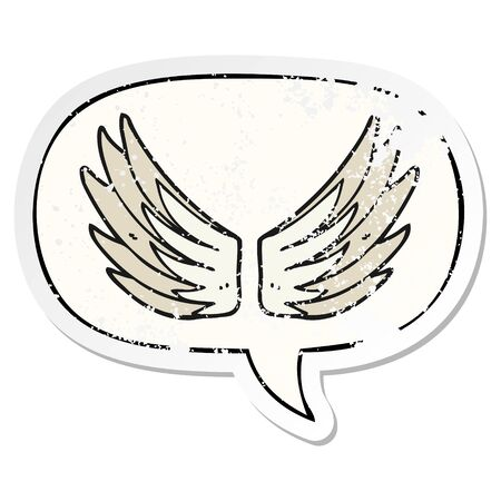 cartoon wings symbol with speech bubble distressed distressed old sticker
