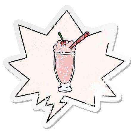 cartoon milkshake with speech bubble distressed distressed old sticker Çizim