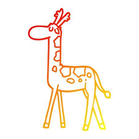 warm gradient line drawing of a cartoon walking giraffe Foto de archivo - 130516794
