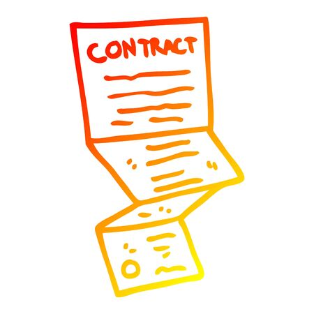 warm gradient line drawing of a cartoon long contract