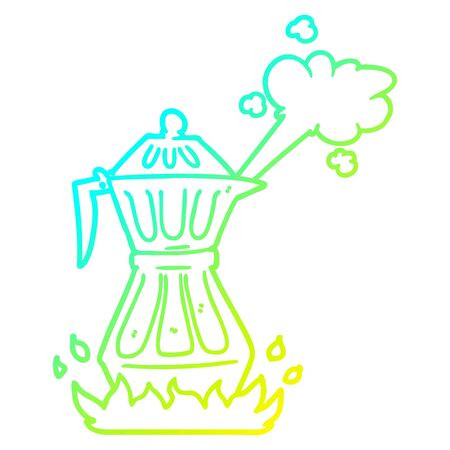 cold gradient line drawing of a cartoon steaming espresso pot Çizim