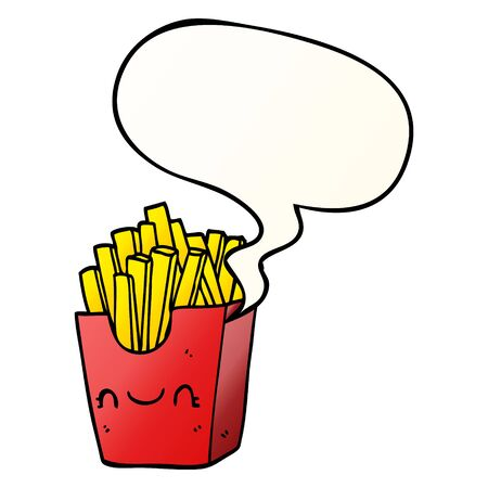 cartoon fries in box with speech bubble in smooth gradient style Ilustração