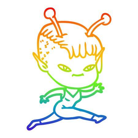 rainbow gradient line drawing of a cute cartoon alien girl