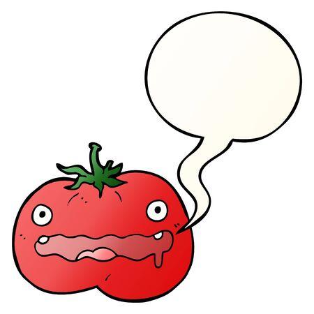 cartoon tomato with speech bubble in smooth gradient style Ilustração