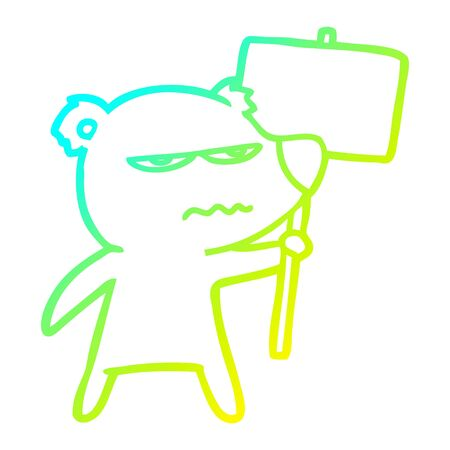 cold gradient line drawing of a angry bear cartoon holding placard