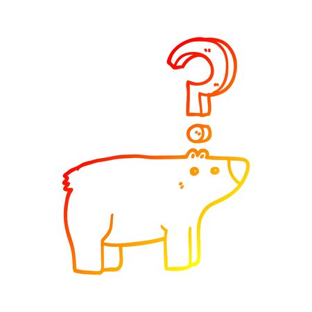 warm gradient line drawing of a cartoon confused bear