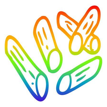 rainbow gradient line drawing of a cartoon pasta shapes Illustration