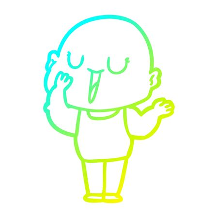 cold gradient line drawing of a happy cartoon bald man yawning 向量圖像