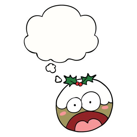 cartoon shocked chrstmas pudding with thought bubble