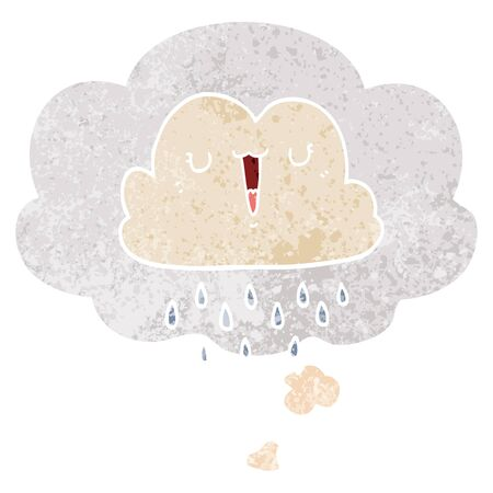 cartoon storm cloud with thought bubble in grunge distressed retro textured style