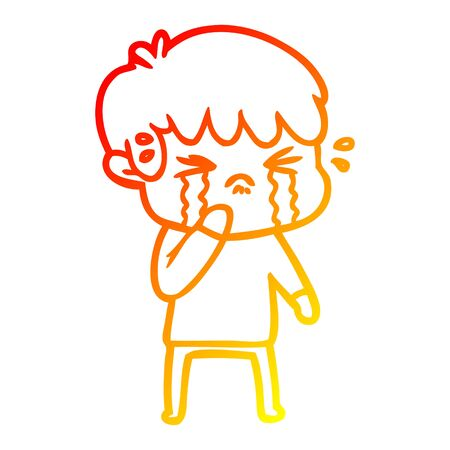 warm gradient line drawing of a cartoon boy crying