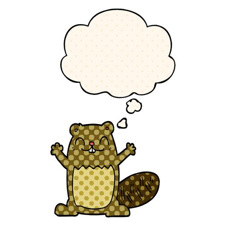 cartoon beaver with thought bubble in comic book style