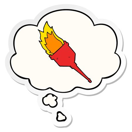 cartoon flaming torch with thought bubble as a printed sticker Illusztráció
