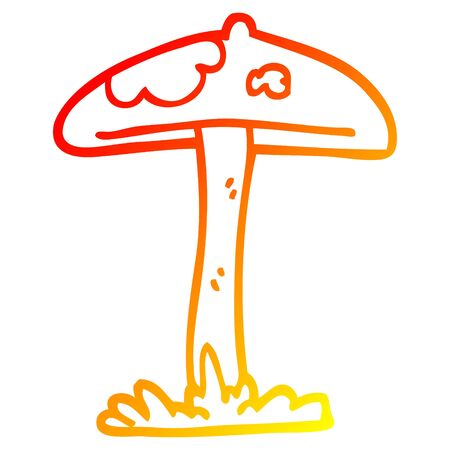 warm gradient line drawing of a cartoon mushroom Stock fotó - 130507425