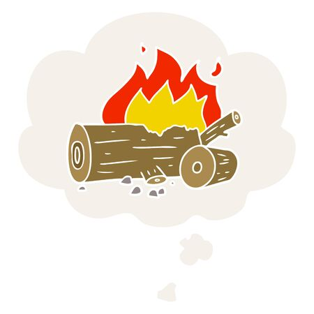 cartoon camp fire with thought bubble in retro style 向量圖像