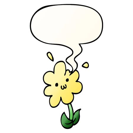cartoon flower with speech bubble in smooth gradient style