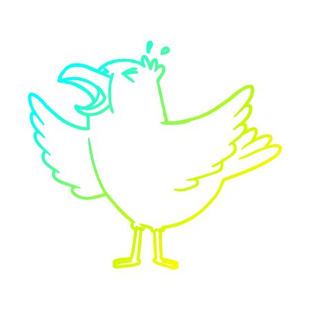 cold gradient line drawing of a cartoon bird squawking 일러스트
