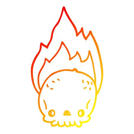 warm gradient line drawing of a spooky cartoon flaming skull