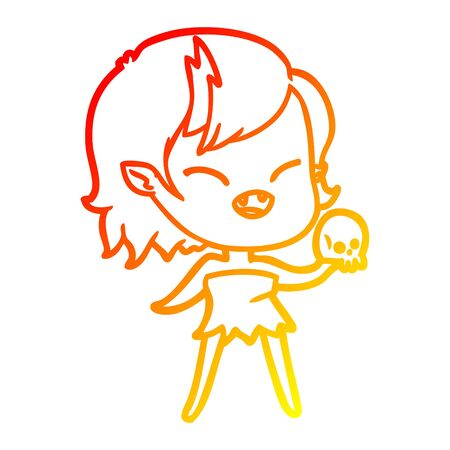 warm gradient line drawing of a cartoon laughing vampire girl with skull