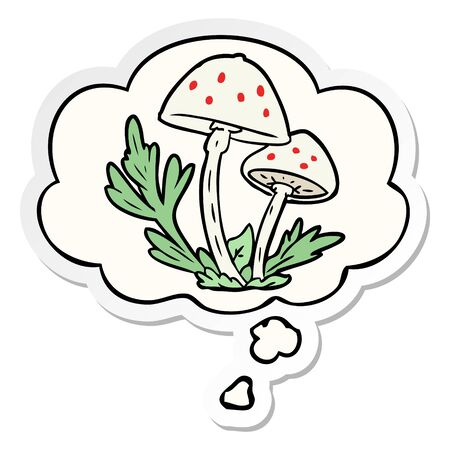 cartoon mushrooms with thought bubble as a printed sticker
